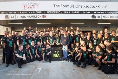 Rosberg e Hamilton na homenagem feita pela Mercedes