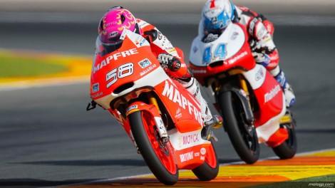 Miguel Oliveira (nº 44, atrás de Juanfran Guevara) foi 8º na corrida e 10º no campeonato