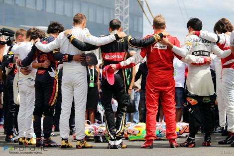 Os pilotos fizeram uma sentida homenagem a Jules Bianchi