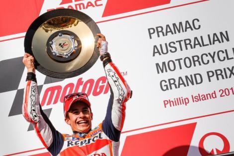 Marc Márquez festeja o triunfo no MotoGP na Austrália
